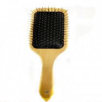 Escova de cabelo de madeira de cerdas de aço