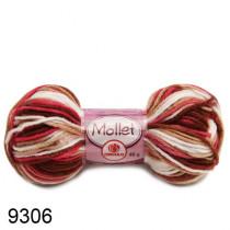 Lã Mollet Cor - Napolitano Mescla Marrom/Pink
