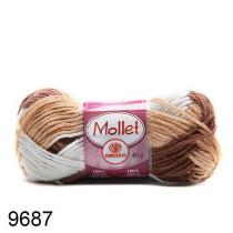 Lã Mollet Cor - Caravela Mescla Castanho/Branco