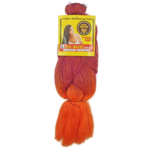 Cabelo Sintético Jumbão 399g - Cor Laranja com roxo Mesclado (EGGPLATIONRANGE RED)