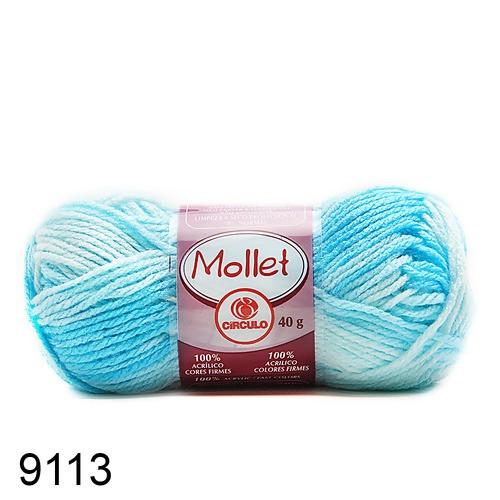 Lã Mollet Cor - Cascata Mescla Azul Céu